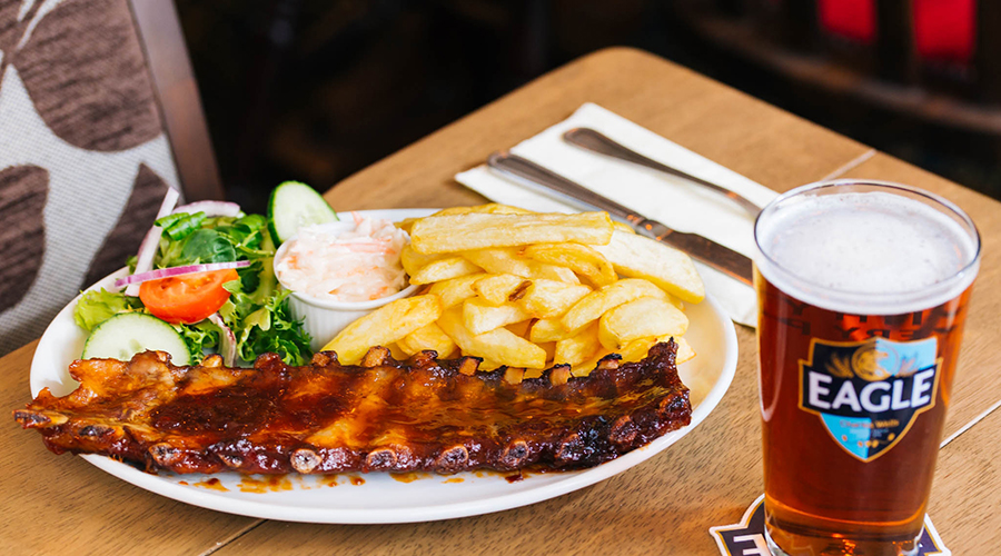 ribs and chips at the pub