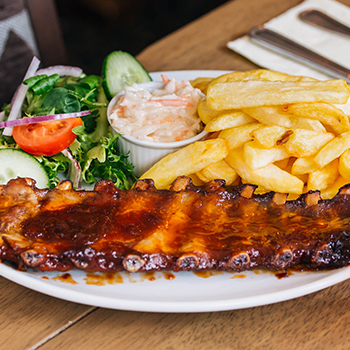 Ribs and Chips from our varied menu